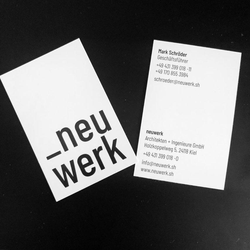 Der nächste Schritt: Logo steht, Visitenkarten sind gedruckt. Hallo neuwerk! #neuwerk #neugründung #architektur #kiel #schleswigholstein #corporatedesign #visitenkarten