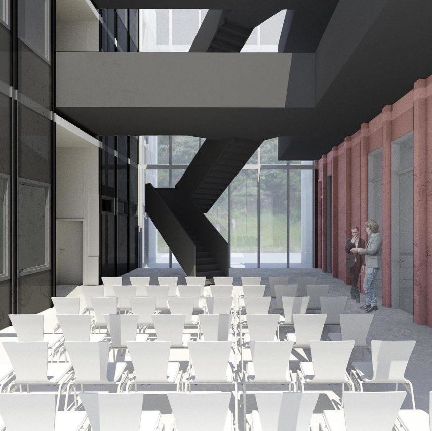 Über ein gläsernes Foyer verbinden wir das Bestandsgebäude mit der Erweiterung. Dabei entstehen Kommunikationsflächen und Raum für Veranstaltungen. Altes und Neues verbindet sich zu einer neuen Einheit. Der Außenraum wird zum Innenraum. #kiel #Verwaltungsgebäude #Verwaltung #bauantragsunterlagen